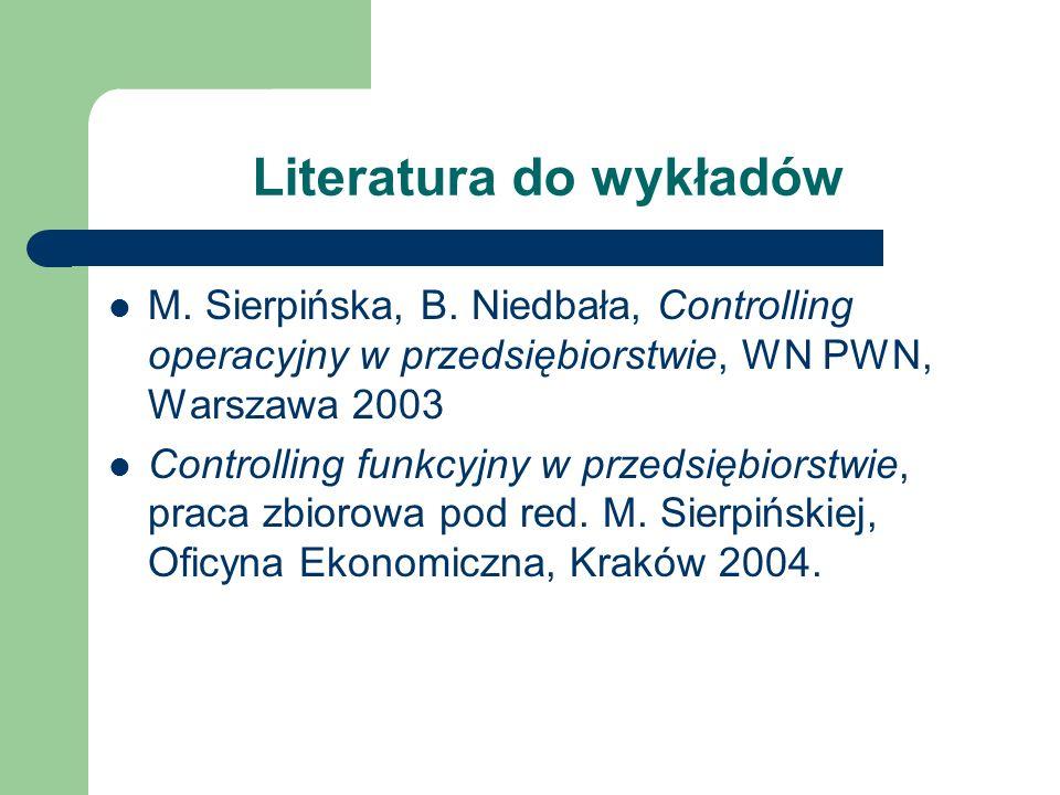 Literatura do wykładów M. Sierpińska, B. Niedbała, Controlling operacyjny w przedsiębiorstwie, WN PWN, Warszawa 2003 Controlling funkcyjny w przedsięb