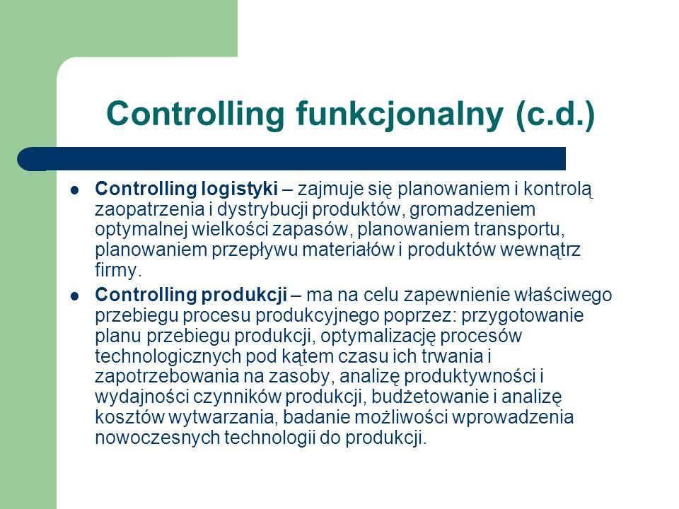Controlling funkcjonalny (c.d.) Controlling logistyki – zajmuje się planowaniem i kontrolą zaopatrzenia i dystrybucji produktów, gromadzeniem optymaln