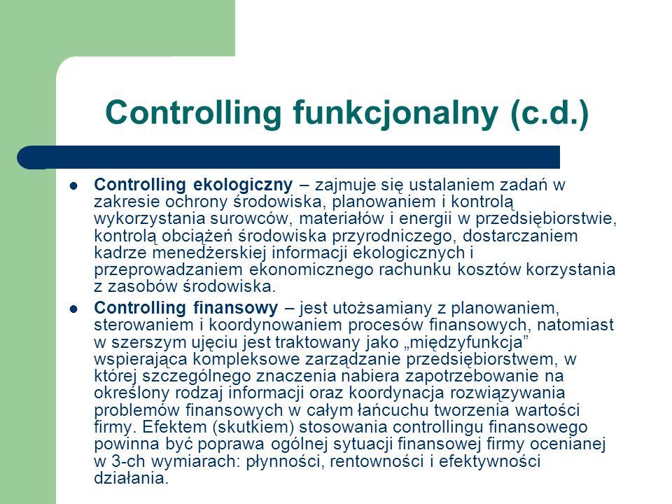 Controlling funkcjonalny (c.d.) Controlling ekologiczny – zajmuje się ustalaniem zadań w zakresie ochrony środowiska, planowaniem i kontrolą wykorzyst