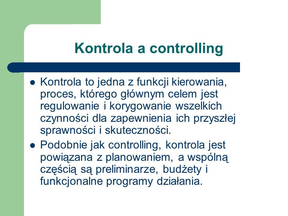 Kontrola a controlling Kontrola to jedna z funkcji kierowania, proces, którego głównym celem jest regulowanie i korygowanie wszelkich czynności dla za