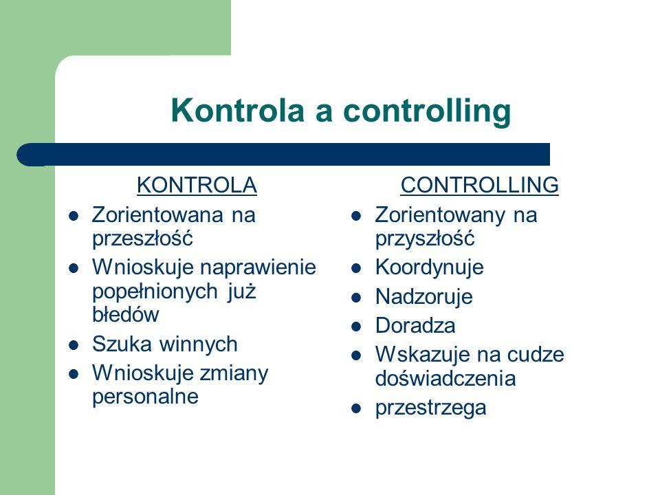 Kontrola a controlling KONTROLA Zorientowana na przeszłość Wnioskuje naprawienie popełnionych już błedów Szuka winnych Wnioskuje zmiany personalne CON