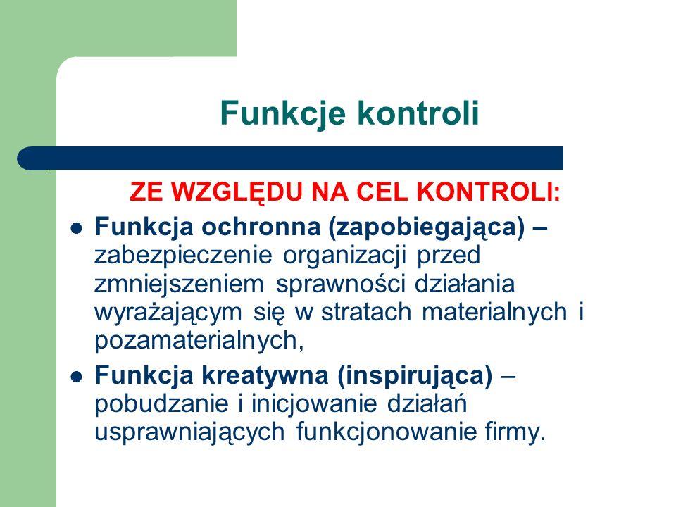 Funkcje kontroli ZE WZGLĘDU NA CEL KONTROLI: Funkcja ochronna (zapobiegająca) – zabezpieczenie organizacji przed zmniejszeniem sprawności działania wy