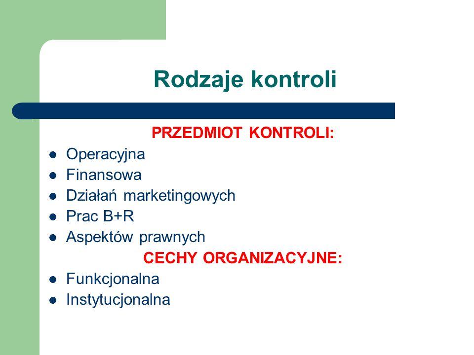 Rodzaje kontroli PRZEDMIOT KONTROLI: Operacyjna Finansowa Działań marketingowych Prac B+R Aspektów prawnych CECHY ORGANIZACYJNE: Funkcjonalna Instytuc
