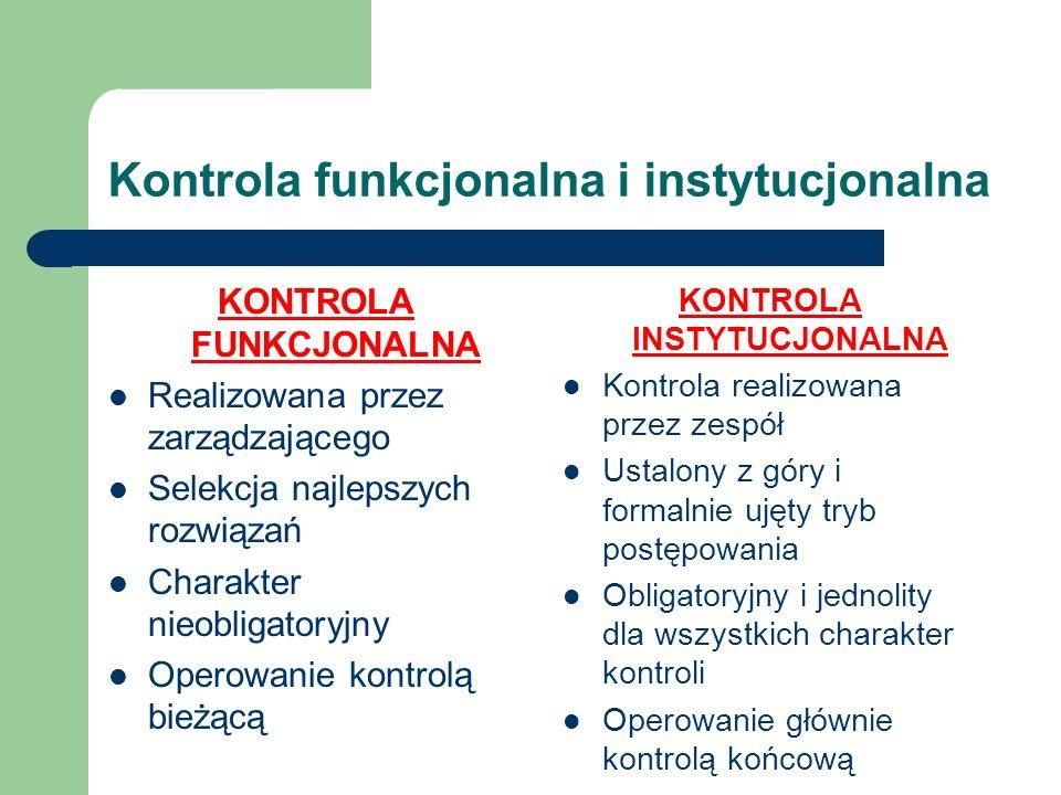 Kontrola funkcjonalna i instytucjonalna KONTROLA FUNKCJONALNA Realizowana przez zarządzającego Selekcja najlepszych rozwiązań Charakter nieobligatoryj