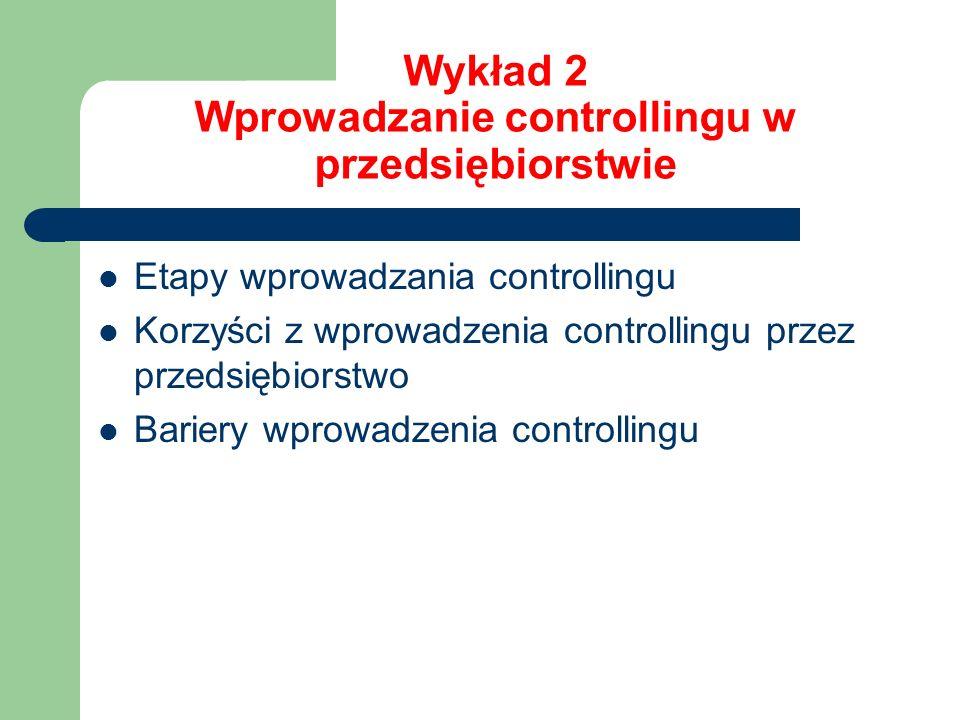 Wykład 2 Wprowadzanie controllingu w przedsiębiorstwie Etapy wprowadzania controllingu Korzyści z wprowadzenia controllingu przez przedsiębiorstwo Bar