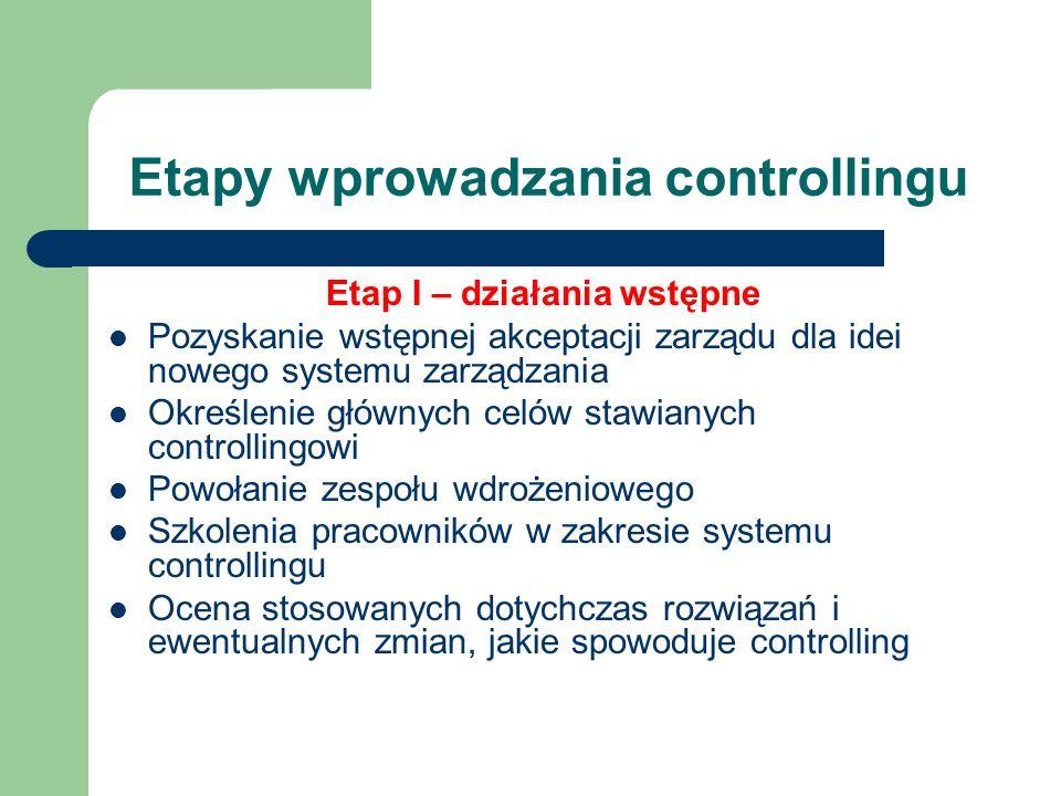 Etapy wprowadzania controllingu Etap I – działania wstępne Pozyskanie wstępnej akceptacji zarządu dla idei nowego systemu zarządzania Określenie główn