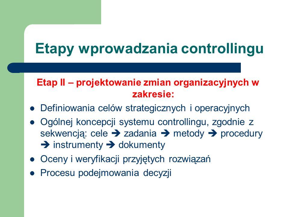 Etapy wprowadzania controllingu Etap II – projektowanie zmian organizacyjnych w zakresie: Definiowania celów strategicznych i operacyjnych Ogólnej kon