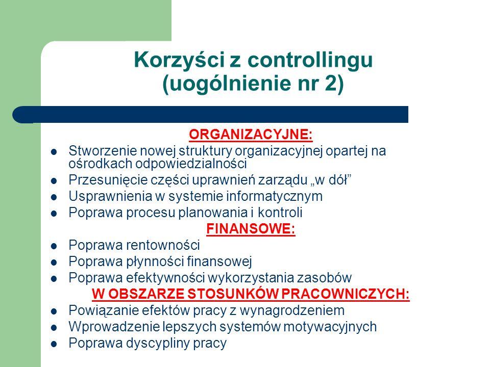 Korzyści z controllingu (uogólnienie nr 2) ORGANIZACYJNE: Stworzenie nowej struktury organizacyjnej opartej na ośrodkach odpowiedzialności Przesunięci