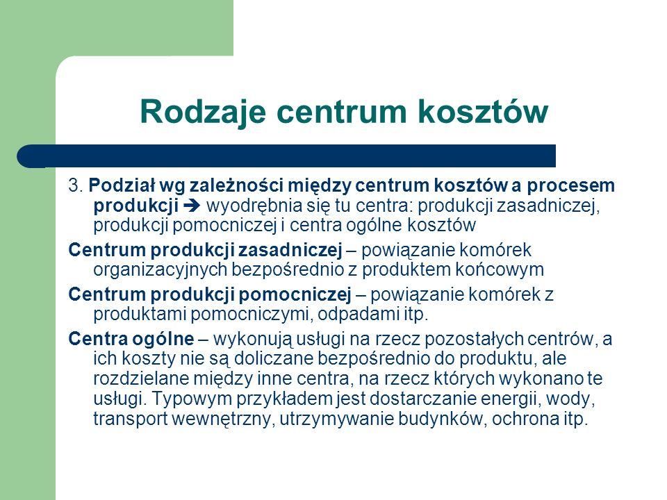 Rodzaje centrum kosztów 3. Podział wg zależności między centrum kosztów a procesem produkcji wyodrębnia się tu centra: produkcji zasadniczej, produkcj