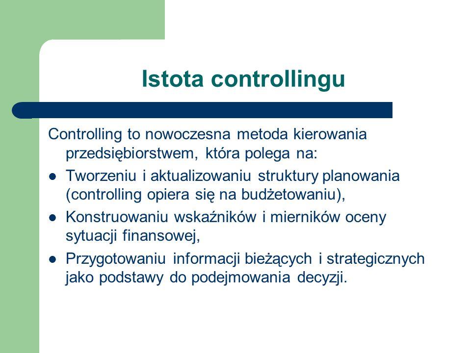 Istota controllingu Controlling to nowoczesna metoda kierowania przedsiębiorstwem, która polega na: Tworzeniu i aktualizowaniu struktury planowania (c