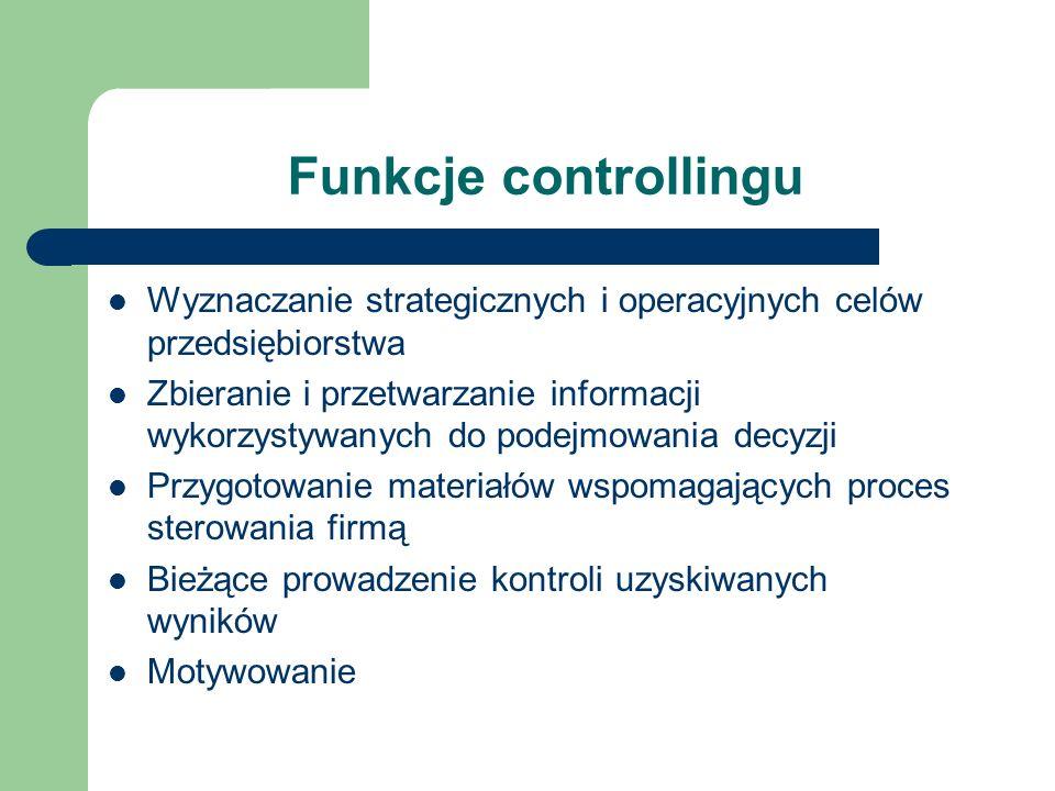 Funkcje controllingu Wyznaczanie strategicznych i operacyjnych celów przedsiębiorstwa Zbieranie i przetwarzanie informacji wykorzystywanych do podejmo