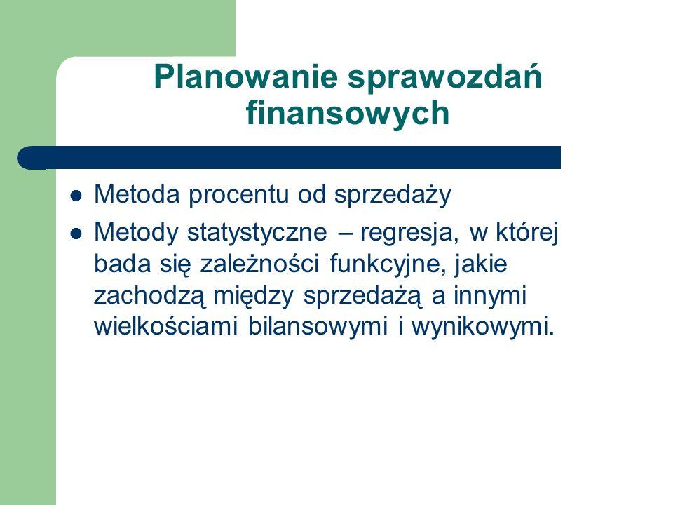Planowanie sprawozdań finansowych Metoda procentu od sprzedaży Metody statystyczne – regresja, w której bada się zależności funkcyjne, jakie zachodzą