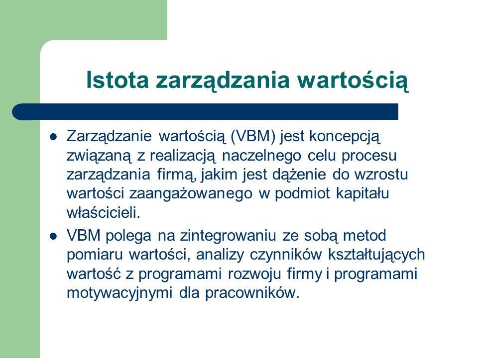 Istota zarządzania wartością Zarządzanie wartością (VBM) jest koncepcją związaną z realizacją naczelnego celu procesu zarządzania firmą, jakim jest dą