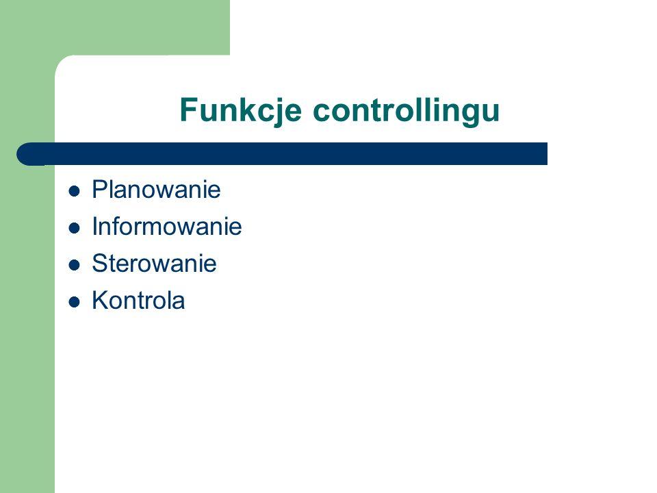 Funkcje controllingu Planowanie Informowanie Sterowanie Kontrola