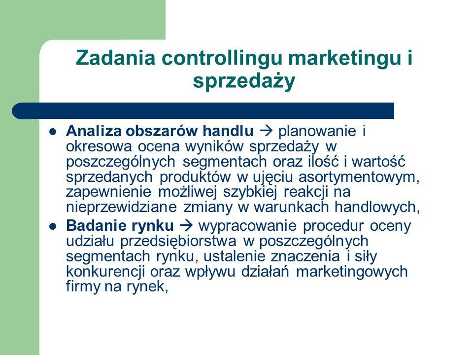 Zadania controllingu marketingu i sprzedaży Analiza obszarów handlu planowanie i okresowa ocena wyników sprzedaży w poszczególnych segmentach oraz ilo