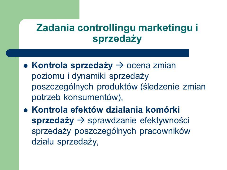Zadania controllingu marketingu i sprzedaży Kontrola sprzedaży ocena zmian poziomu i dynamiki sprzedaży poszczególnych produktów (śledzenie zmian potr