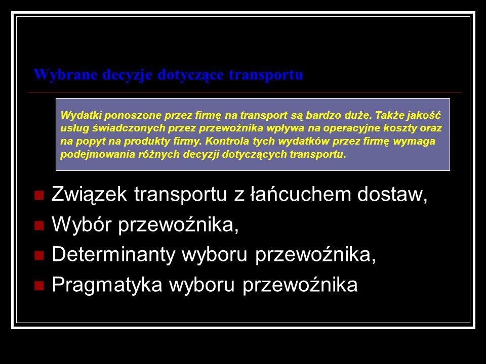 Wybrane decyzje dotyczące transportu Związek transportu z łańcuchem dostaw, Wybór przewoźnika, Determinanty wyboru przewoźnika, Pragmatyka wyboru prze