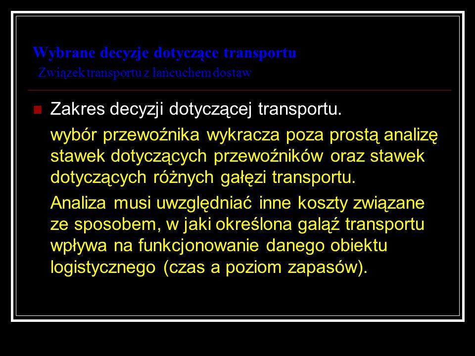 Wybrane decyzje dotyczące transportu Wybór przewoźnika Szczególny przypadek procesu zakupu; Wybór gałęzi transportu; Wybór przewoźnika; Powtarzalność decyzji.