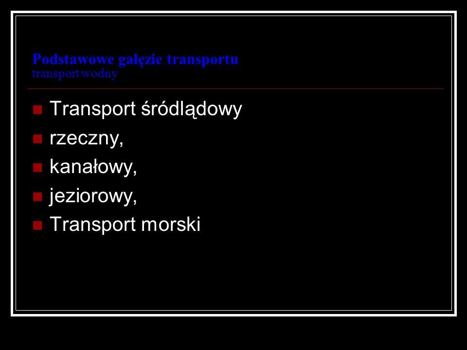 Podstawowe gałęzie transportu transport wodny Transport wodny formy prawne przewoźników; struktura kosztów; cechy obsługi; długi czas przewozu, mała dostępność przestrzenna;