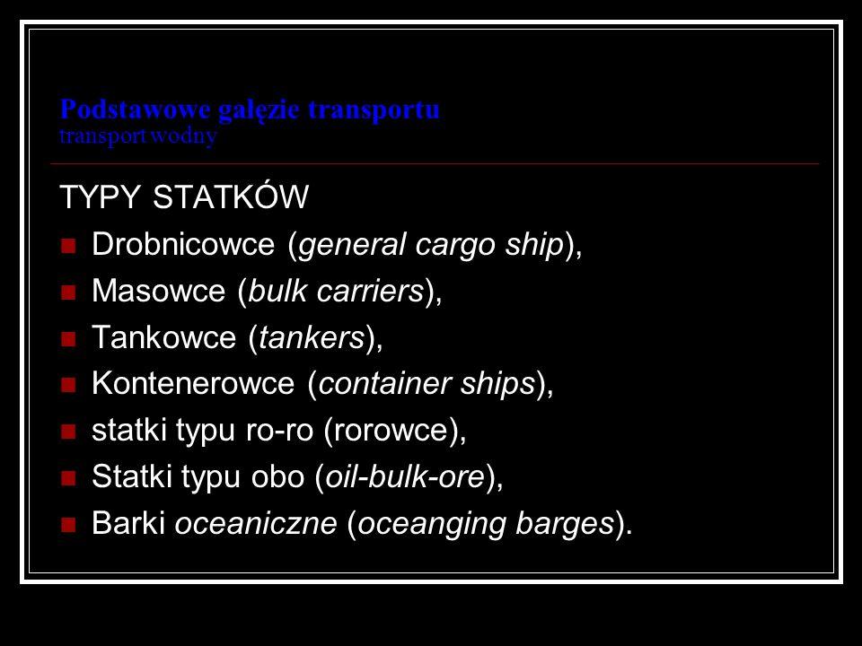 Podstawowe gałęzie transportu transport wodny TYPY STATKÓW Drobnicowce (general cargo ship), Masowce (bulk carriers), Tankowce (tankers), Kontenerowce
