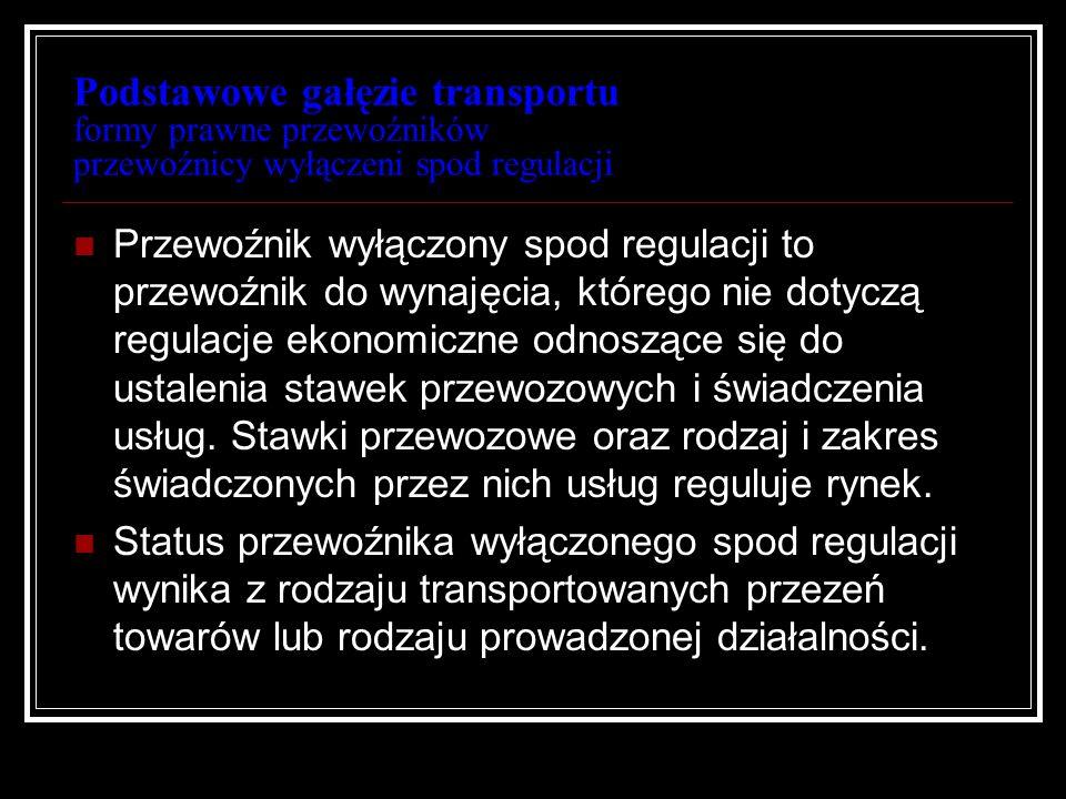 Podstawowe gałęzie transportu formy prawne przewoźników przewoźnicy wyłączeni spod regulacji Przewoźnik wyłączony spod regulacji to przewoźnik do wyna