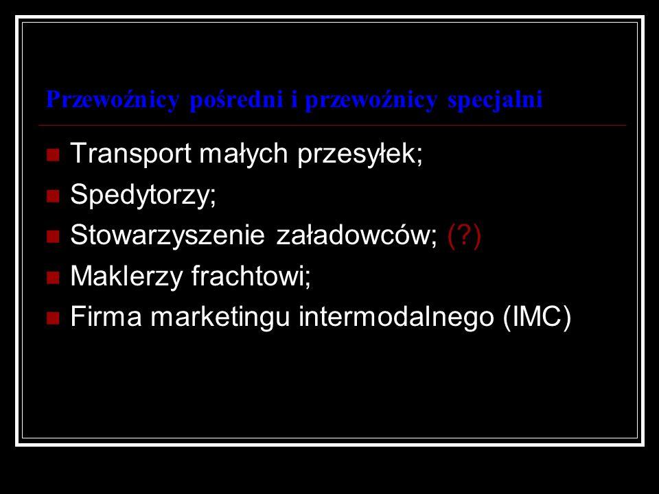 Przewoźnicy pośredni i przewoźnicy specjalni Transport małych przesyłek, spedytorzy, stowarzyszenie załadowców Przesyłki ekspresowe DHL Rynek usług kurierskich ……………… Spedytorzy [ konsolidacja (kompletacja transport rozdzielanie (dekompletacja)] Stowarzyszenie załadowców (przewozi małe przesyłki należące do swoich członków.