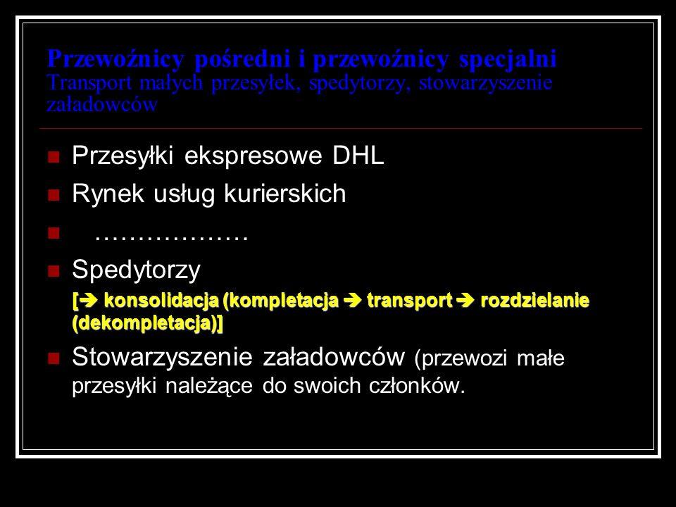 Przewoźnicy pośredni i przewoźnicy specjalni Transport małych przesyłek, spedytorzy, stowarzyszenie załadowców Przesyłki ekspresowe DHL Rynek usług ku