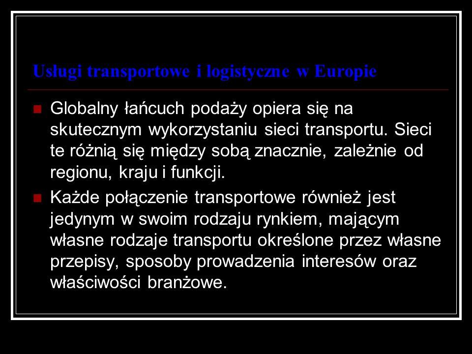 Usługi transportowe i logistyczne w Europie Rodzaje transportu transoceanicznego różnią się od rodzajów transportu istniejących w Europie, a te z kolei od dostępnych Ameryce Północnej.