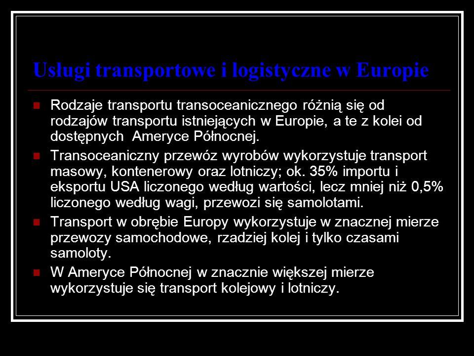 Usługi transportowe i logistyczne w Europie Rodzaje transportu transoceanicznego różnią się od rodzajów transportu istniejących w Europie, a te z kole
