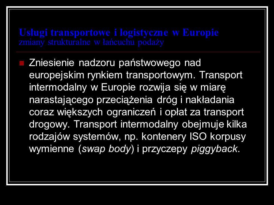 Usługi transportowe i logistyczne w Europie zmiany strukturalne w łańcuchu podaży Zniesienie nadzoru państwowego nad europejskim rynkiem transportowym