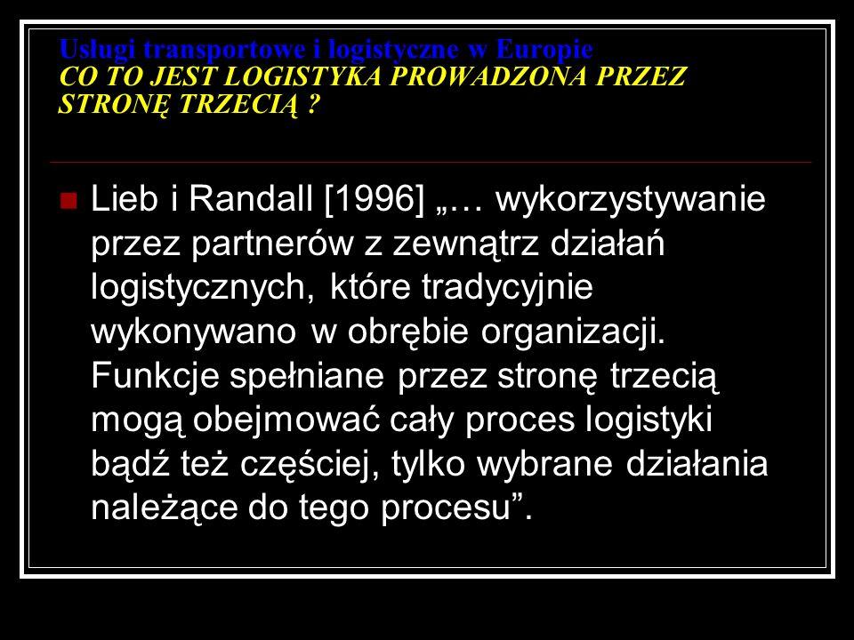 Usługi transportowe i logistyczne w Europie CO TO JEST LOGISTYKA PROWADZONA PRZEZ STRONĘ TRZECIĄ ? Lieb i Randall [1996] … wykorzystywanie przez partn