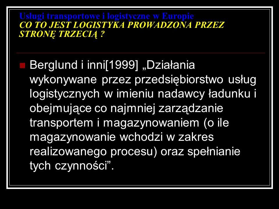 Usługi transportowe i logistyczne w Europie CO TO JEST LOGISTYKA PROWADZONA PRZEZ STRONĘ TRZECIĄ ? Berglund i inni[1999] Działania wykonywane przez pr