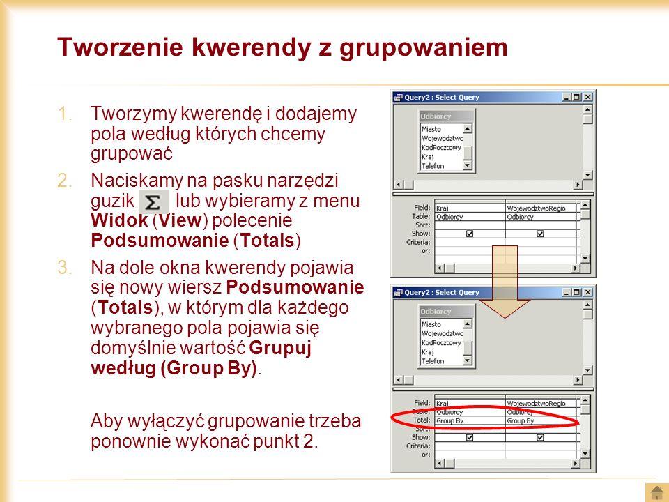 Tworzenie kwerendy z grupowaniem 1.Tworzymy kwerendę i dodajemy pola według których chcemy grupować 2.Naciskamy na pasku narzędzi guzik lub wybieramy