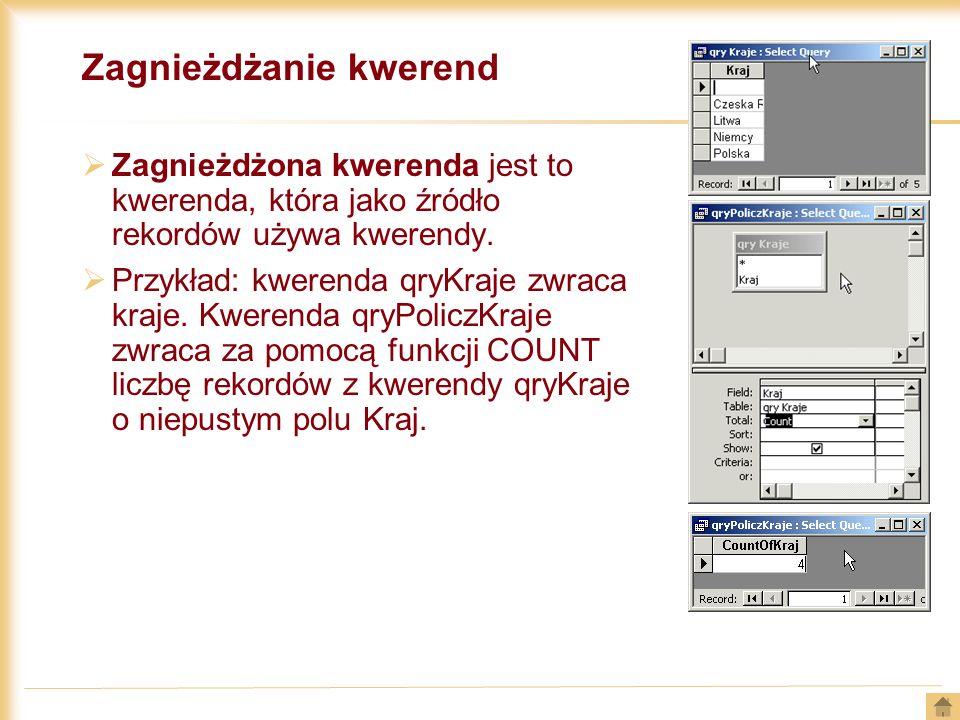 Zagnieżdżanie kwerend Zagnieżdżona kwerenda jest to kwerenda, która jako źródło rekordów używa kwerendy. Przykład: kwerenda qryKraje zwraca kraje. Kwe