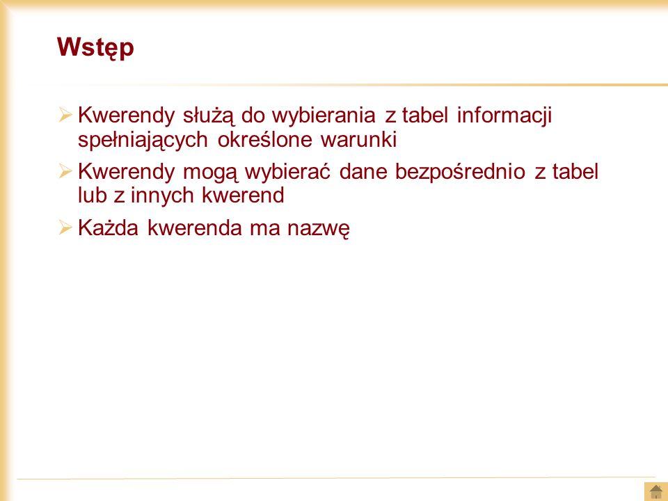 Wstęp Kwerendy służą do wybierania z tabel informacji spełniających określone warunki Kwerendy mogą wybierać dane bezpośrednio z tabel lub z innych kw