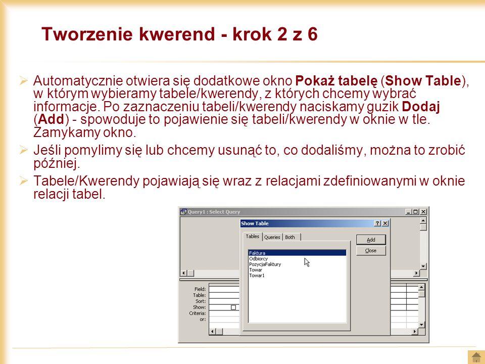 Tworzenie kwerend - krok 2 z 6 Automatycznie otwiera się dodatkowe okno Pokaż tabelę (Show Table), w którym wybieramy tabele/kwerendy, z których chcem