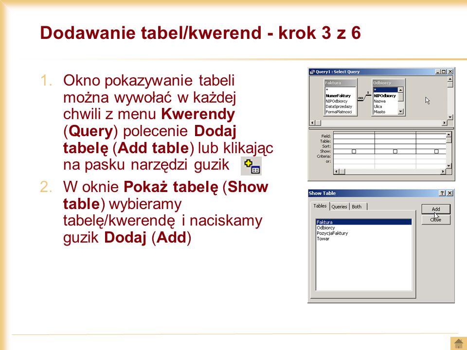Dodawanie tabel/kwerend - krok 3 z 6 1.Okno pokazywanie tabeli można wywołać w każdej chwili z menu Kwerendy (Query) polecenie Dodaj tabelę (Add table