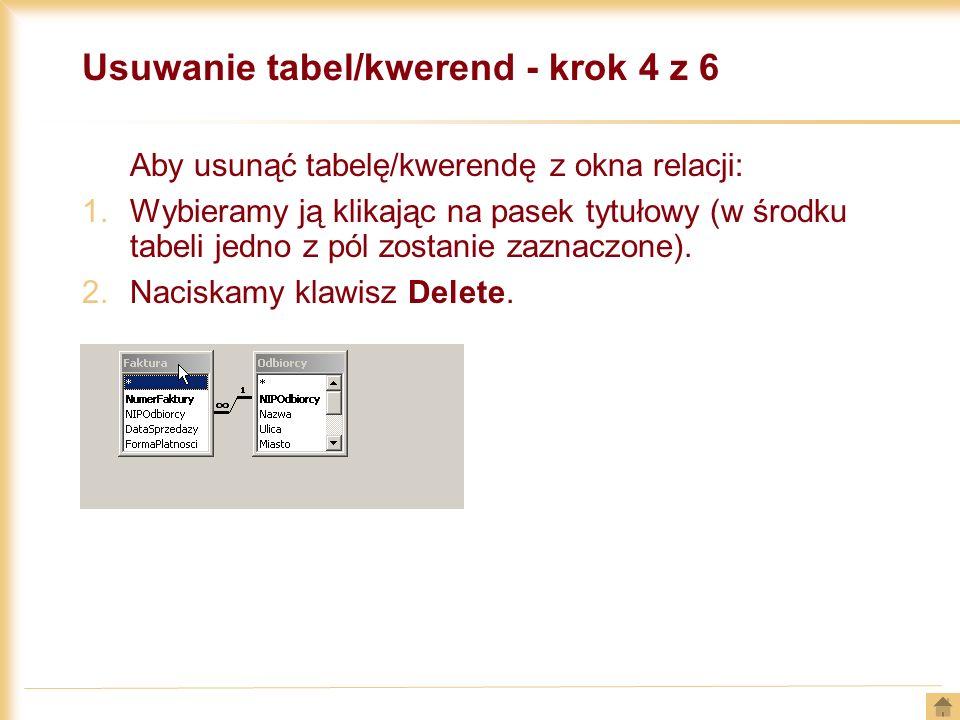 Usuwanie tabel/kwerend - krok 4 z 6 Aby usunąć tabelę/kwerendę z okna relacji: 1.Wybieramy ją klikając na pasek tytułowy (w środku tabeli jedno z pól