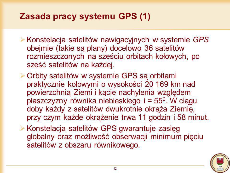 12 Zasada pracy systemu GPS (1) Konstelacja satelitów nawigacyjnych w systemie GPS obejmie (takie są plany) docelowo 36 satelitów rozmieszczonych na s