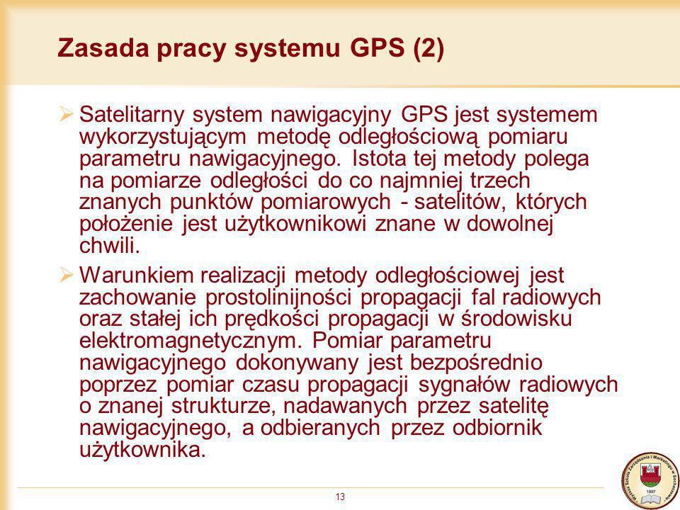 13 Zasada pracy systemu GPS (2) Satelitarny system nawigacyjny GPS jest systemem wykorzystującym metodę odległościową pomiaru parametru nawigacyjnego.