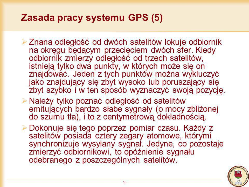 16 Zasada pracy systemu GPS (5) Znana odległość od dwóch satelitów lokuje odbiornik na okręgu będącym przecięciem dwóch sfer. Kiedy odbiornik zmierzy