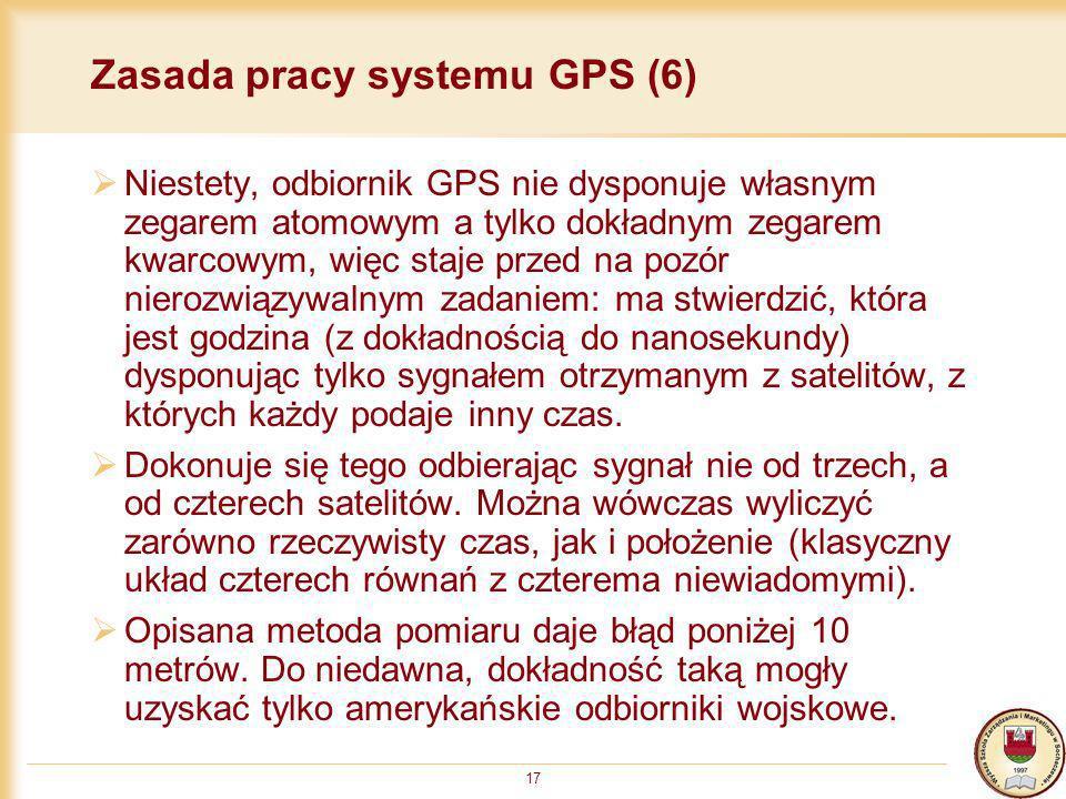 17 Zasada pracy systemu GPS (6) Niestety, odbiornik GPS nie dysponuje własnym zegarem atomowym a tylko dokładnym zegarem kwarcowym, więc staje przed n