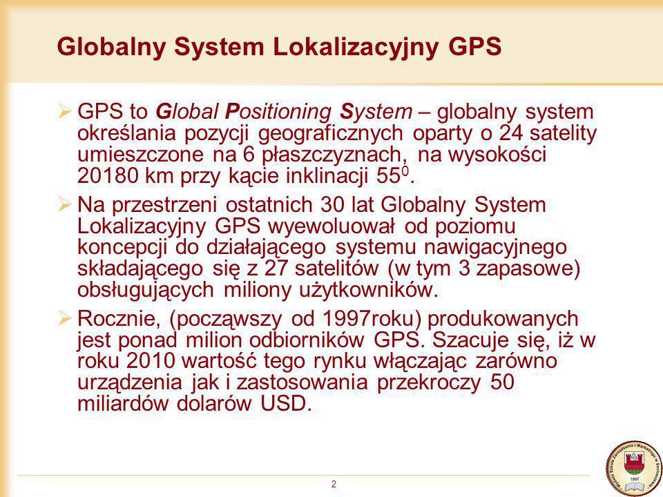 2 Globalny System Lokalizacyjny GPS GPS to Global Positioning System – globalny system określania pozycji geograficznych oparty o 24 satelity umieszcz