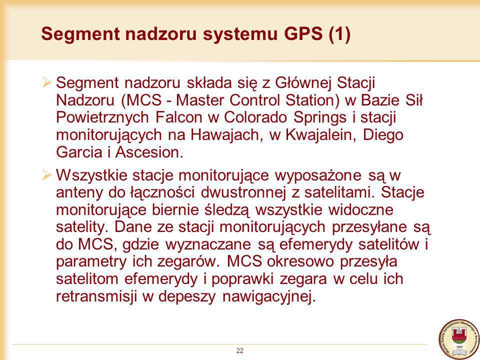 22 Segment nadzoru systemu GPS (1) Segment nadzoru składa się z Głównej Stacji Nadzoru (MCS - Master Control Station) w Bazie Sił Powietrznych Falcon