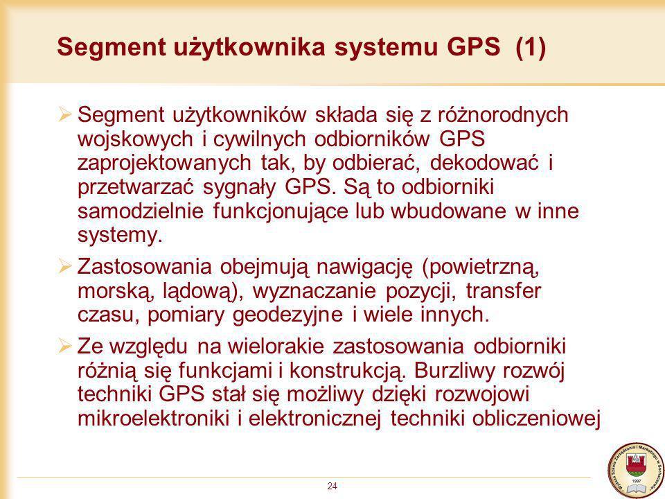 24 Segment użytkownika systemu GPS (1) Segment użytkowników składa się z różnorodnych wojskowych i cywilnych odbiorników GPS zaprojektowanych tak, by