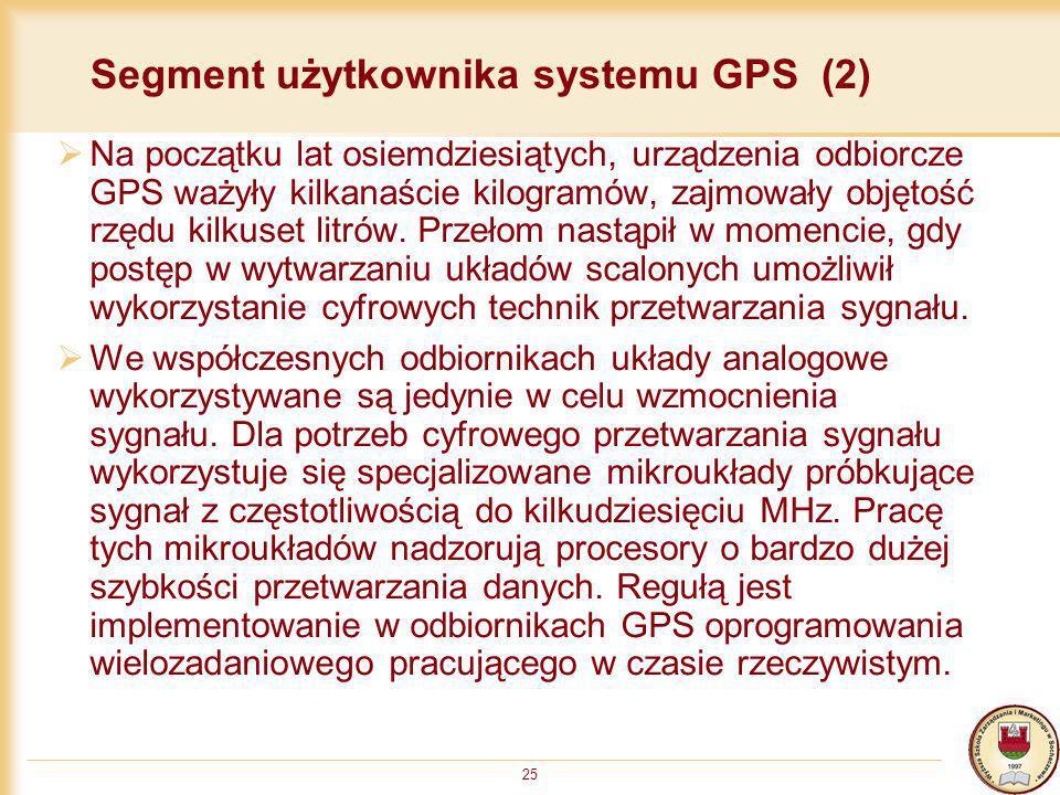 25 Segment użytkownika systemu GPS (2) Na początku lat osiemdziesiątych, urządzenia odbiorcze GPS ważyły kilkanaście kilogramów, zajmowały objętość rz