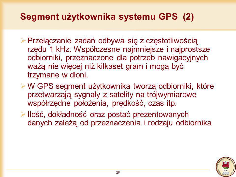 26 Segment użytkownika systemu GPS (2) Przełączanie zadań odbywa się z częstotliwością rzędu 1 kHz. Współczesne najmniejsze i najprostsze odbiorniki,