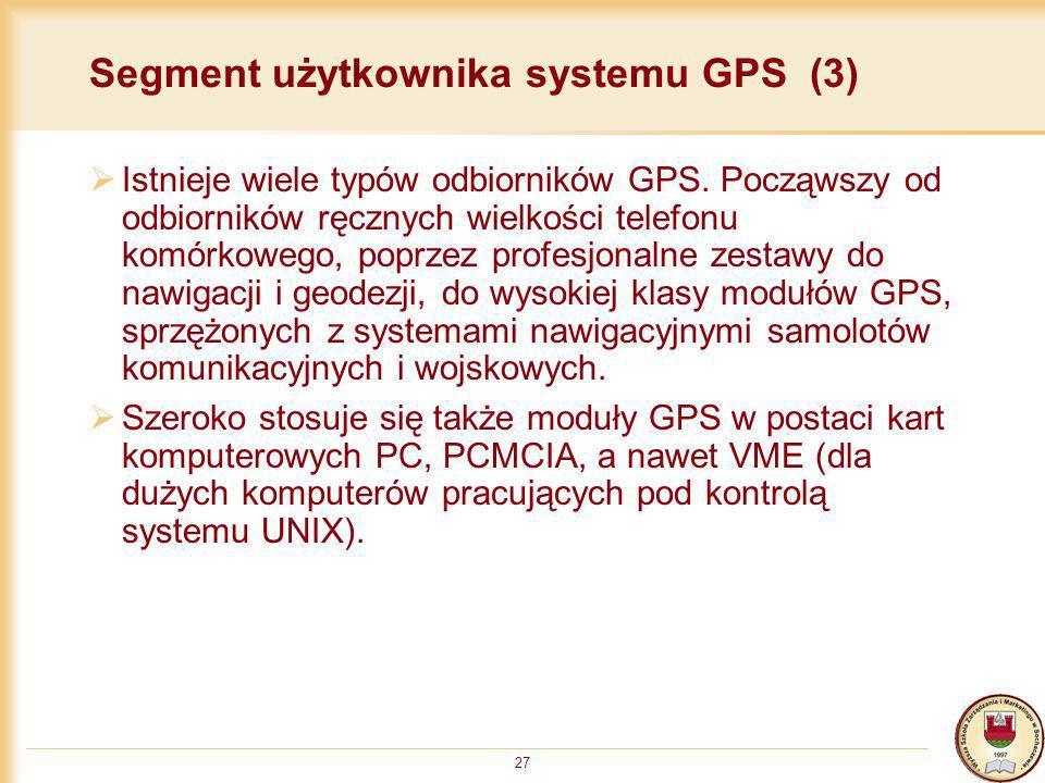 27 Segment użytkownika systemu GPS (3) Istnieje wiele typów odbiorników GPS. Począwszy od odbiorników ręcznych wielkości telefonu komórkowego, poprzez