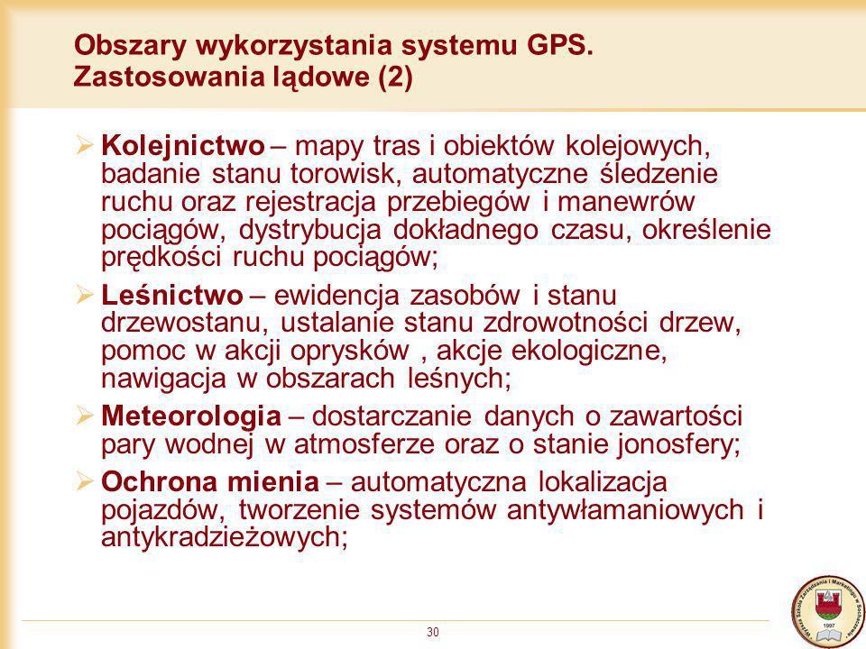 30 Obszary wykorzystania systemu GPS. Zastosowania lądowe (2) Kolejnictwo – mapy tras i obiektów kolejowych, badanie stanu torowisk, automatyczne śled