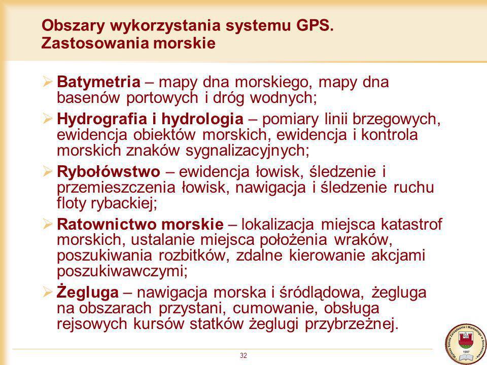 32 Obszary wykorzystania systemu GPS. Zastosowania morskie Batymetria – mapy dna morskiego, mapy dna basenów portowych i dróg wodnych; Hydrografia i h